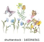 painted watercolor flowers | Shutterstock . vector #160346561