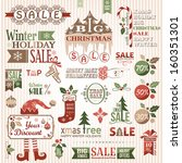 set of christmas decorative... | Shutterstock .eps vector #160351301