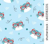 Cute Blue Cat Animal Pattern...
