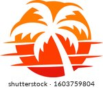 sunset palm abstract  | Shutterstock .eps vector #1603759804