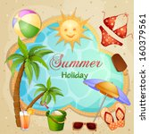 summer holiday illustration... | Shutterstock . vector #160379561