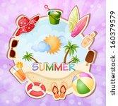 summer holiday illustration... | Shutterstock . vector #160379579