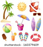 summer elements isolated on... | Shutterstock . vector #160379609