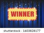 winner frame label with falling ... | Shutterstock . vector #1603828177