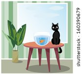 Vector illustration of black naughty cat who sits on table looks at fish in aquarium - stock vector