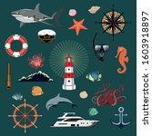 set of color vector marine... | Shutterstock .eps vector #1603918897