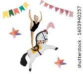 Ircus Acrobat Riding A Horse...