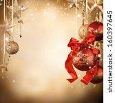 christmas decoration on blur... | Shutterstock . vector #160397645