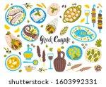 greek cuisine flat vector... | Shutterstock .eps vector #1603992331