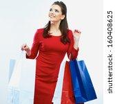 shopping woman portrait...   Shutterstock . vector #160408625