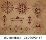 vector set of sacred symbols... | Shutterstock .eps vector #1604093467