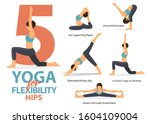 infographic of 5 yoga poses for ... | Shutterstock .eps vector #1604109004