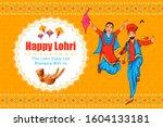 happy lohri punjabi religious...   Shutterstock .eps vector #1604133181