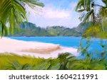 wide brush painting. hot summer.... | Shutterstock . vector #1604211991