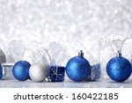 christmas balls and gifts on... | Shutterstock . vector #160422185