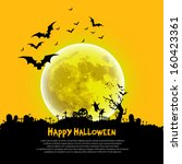 happy halloween sign and theme... | Shutterstock .eps vector #160423361