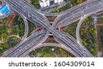 Small photo of Aerial view Shanghai spectacular elevated highway and convergence of roads, bridges, junction and interchange overpass, viaducts in Shanghai, transportation and infrastructure in urbanChina