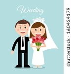 wedding design over blue... | Shutterstock .eps vector #160434179