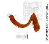 orange brush stroke and texture.... | Shutterstock .eps vector #1604343067