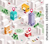 isometric city map with people  ... | Shutterstock .eps vector #1604386051