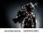 soldier man hold machine gun... | Shutterstock . vector #160442381