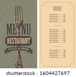 vector menu for restaurant with ... | Shutterstock .eps vector #1604427697