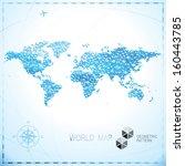 geometric pixel shape world map ... | Shutterstock .eps vector #160443785