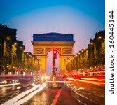 arc de triomphe at dusk  paris | Shutterstock . vector #160445144