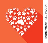 flat heart with pet paws... | Shutterstock .eps vector #160449014