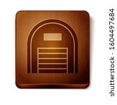 Brown Warehouse icon isolated on white background. Wooden square button.