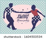 young couple dancing jazz swing.... | Shutterstock .eps vector #1604503534