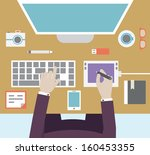 workplace of designer with...   Shutterstock .eps vector #160453355