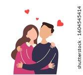 romantic lovers couple hugging. ...   Shutterstock .eps vector #1604545414