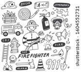 fire fighter and equipments...   Shutterstock .eps vector #1604552731