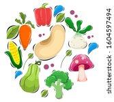 adorable vegetable design... | Shutterstock .eps vector #1604597494