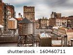 Stock photo water towers in midtown manhattan in new york 160460711