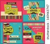 set of four hipster backgrounds | Shutterstock .eps vector #160463747