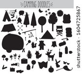 camping doodles  black... | Shutterstock .eps vector #1604725867
