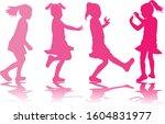 silhouette of children on white ... | Shutterstock . vector #1604831977