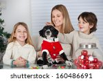 happy family with pet dog... | Shutterstock . vector #160486691