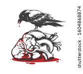 black raven biting bleeding... | Shutterstock . vector #1604868874