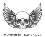 human skull with wings tattoo... | Shutterstock . vector #1604871727