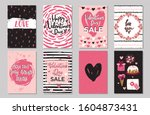 valentine's day greeting cards... | Shutterstock .eps vector #1604873431