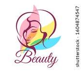 beauty salon emblem with... | Shutterstock . vector #1604874547