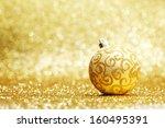 golden christmas ball on... | Shutterstock . vector #160495391