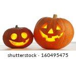 Two Funny Halloween Pumpkins O...