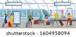 people on the express train... | Shutterstock .eps vector #1604958094