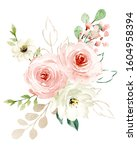Pink Flowers Bouquet Watercolor ...