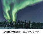 The aurora borealis in Yellowknife Canada in March on a frozen lake