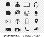 contact icon set. vector... | Shutterstock .eps vector #1605107164